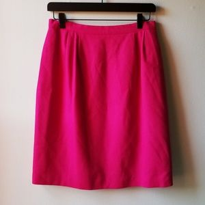 100% Wool Solid Fuchsia Zip-Up Pencil Skirt 10